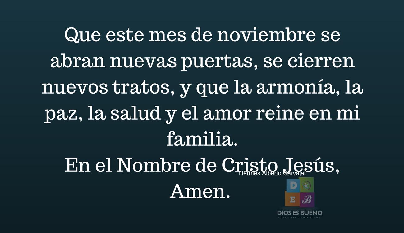 Oración Por El Mes De Noviembre Para Protección Salud Prosperidad