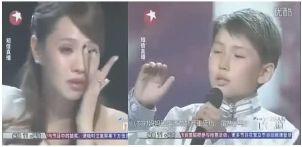 Nino hace llorar cantando a su madre que esta en el cielo