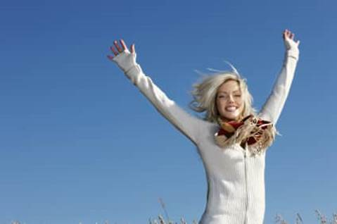 woman, happy, sky