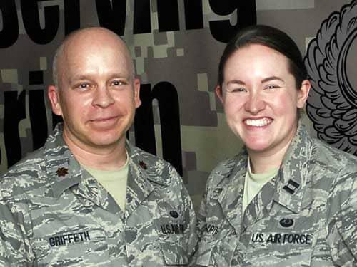 Air Force Maj. Tobin Griffeth and AF Capt. Katie Illingworth