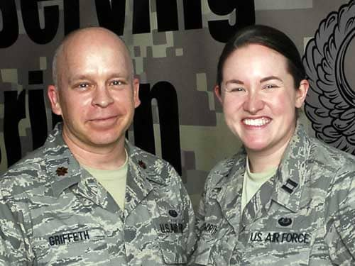 Air Force Maj. Tobin Griffeth and AF Capt. Katie Illingworth