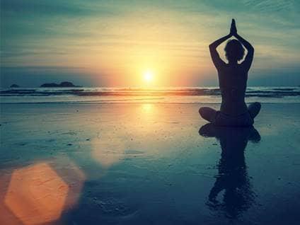 meditation by ocean