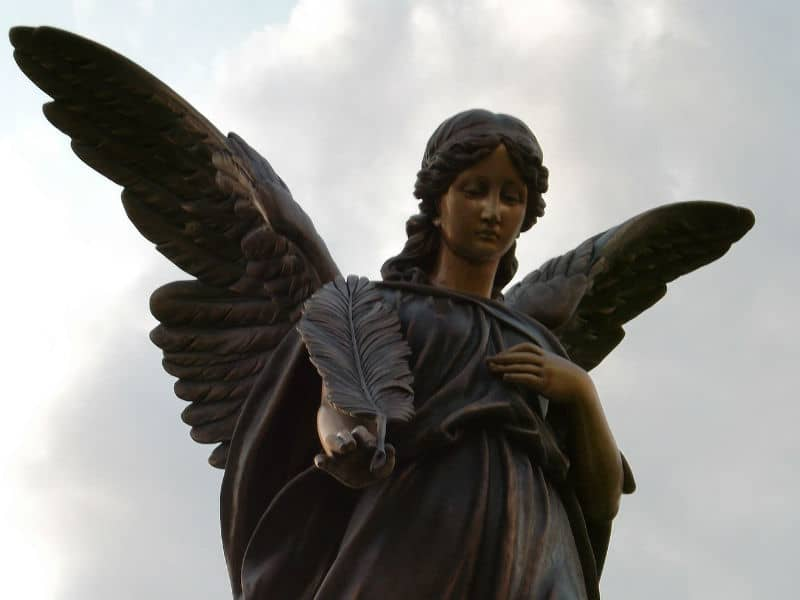 Celestial Mourning Heavenly Angel Protective Wings Divine Messenger Sculpture