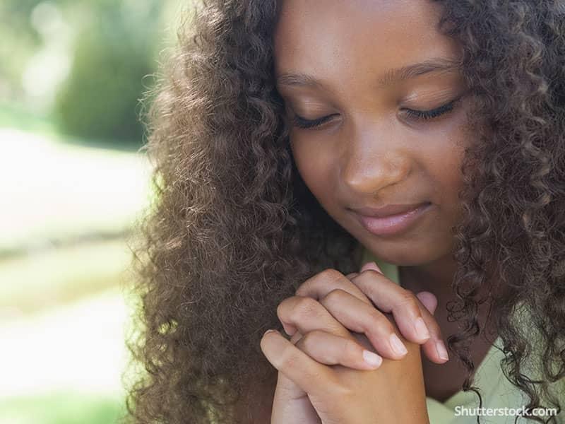 child girl outside prayer