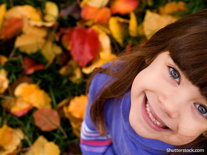 child girl smiling happy fall