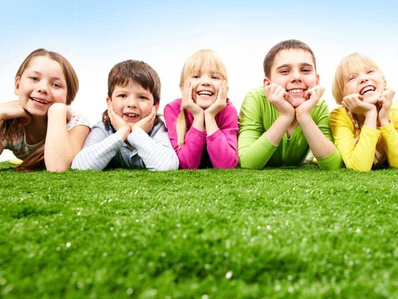 children friends on grass