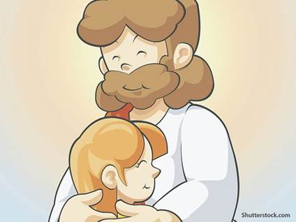 jesus cartoon hugging child