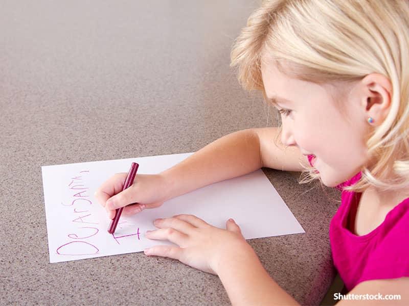 people little girl writing