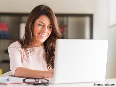 people woman working laptop