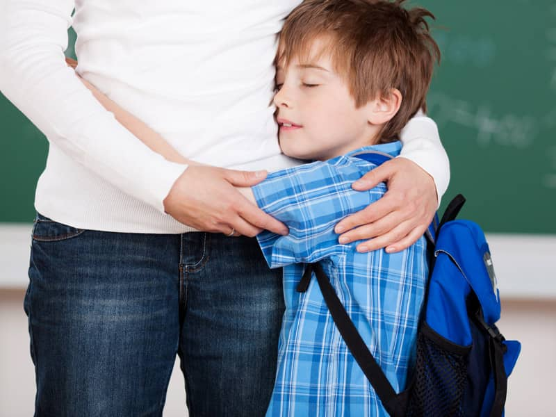 Kid hugging
