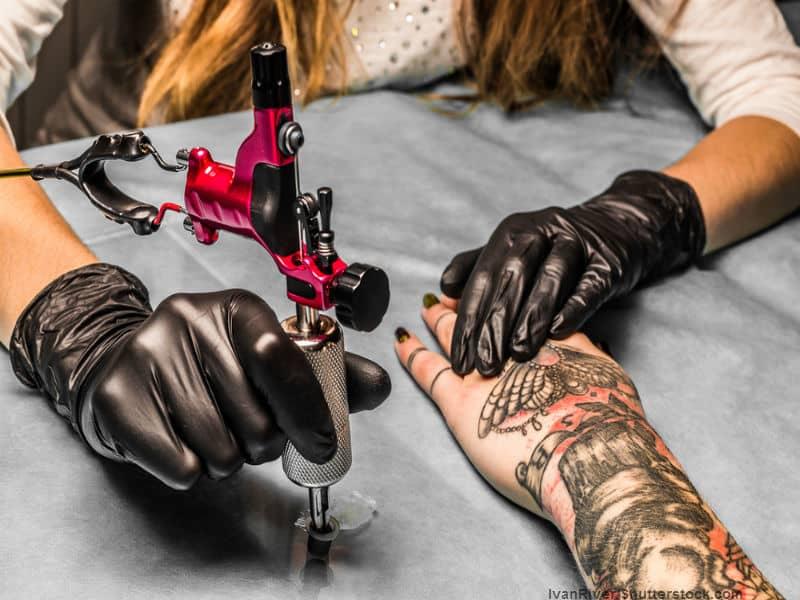 Person getting tattooed