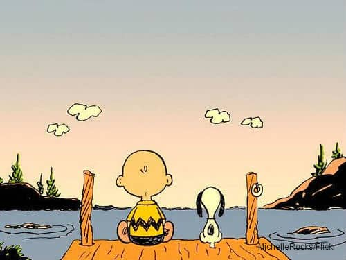 Charlie Brown and Snoopy Sitting at Dock