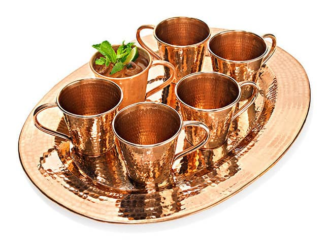 Copper Mugs and Tray