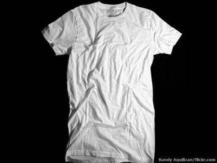wrinkled white shirt