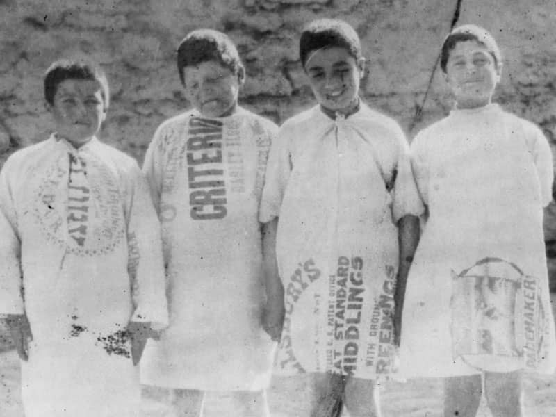 children in flour