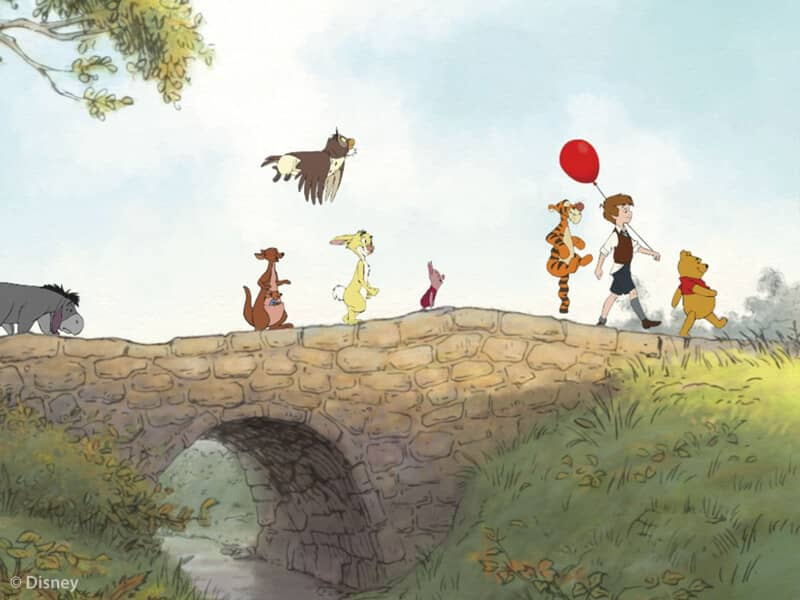 Winnie the Pooh and Friends Walking Over Bridge