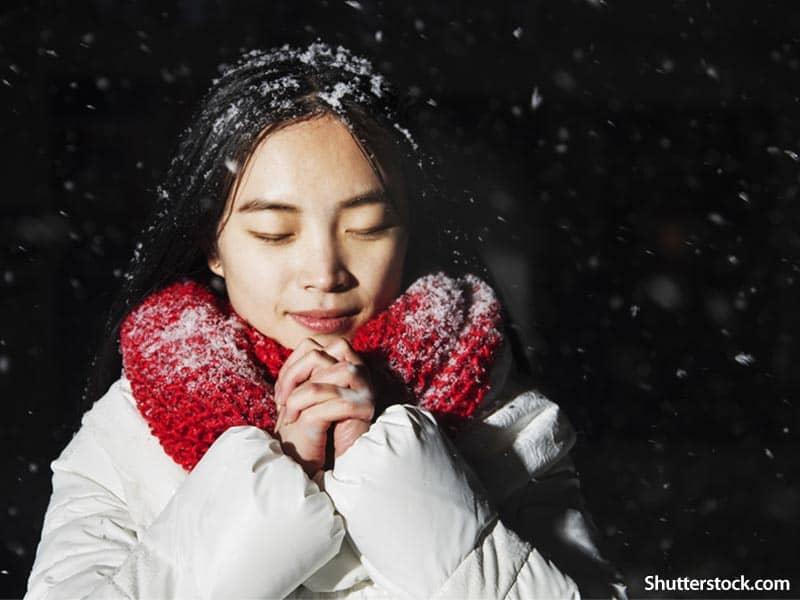 Woman Praying Winter Snow