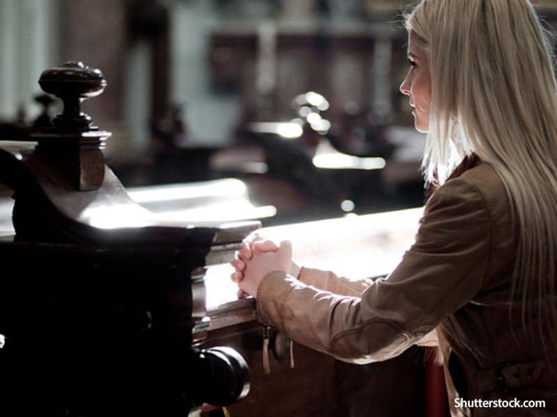 people woman praying church