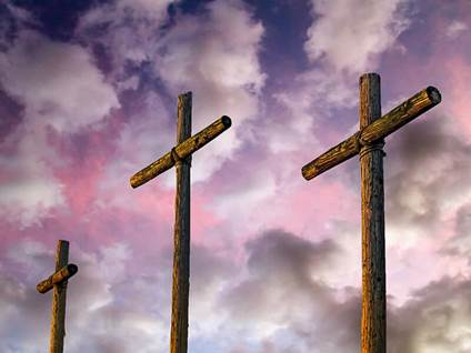 three cross purple background