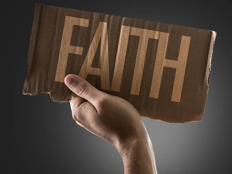 hand word faith cardboard