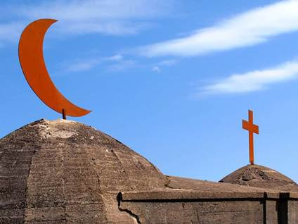 muslim moon and christian cross