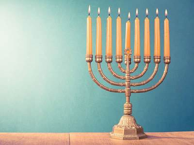 Jewish Menorah Lights Gold