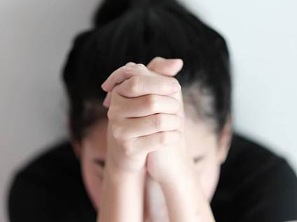 Christian Women Prayer Hands Sad
