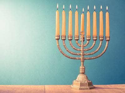 Jewish Menorah Lights Gold