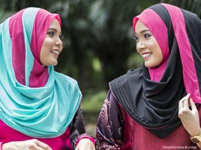 Two women wearing hijabs