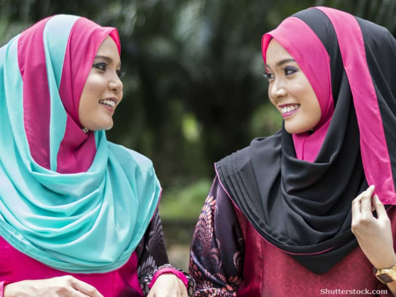 Two women wearing hijabs