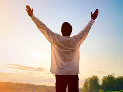 Man praising God