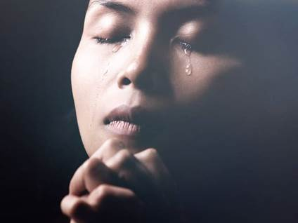 Woman Crying Praying Spiritual
