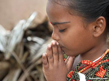 Hindu Girl Praying