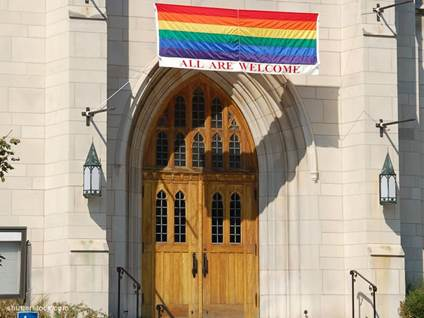 church door all welcome rainbow flag