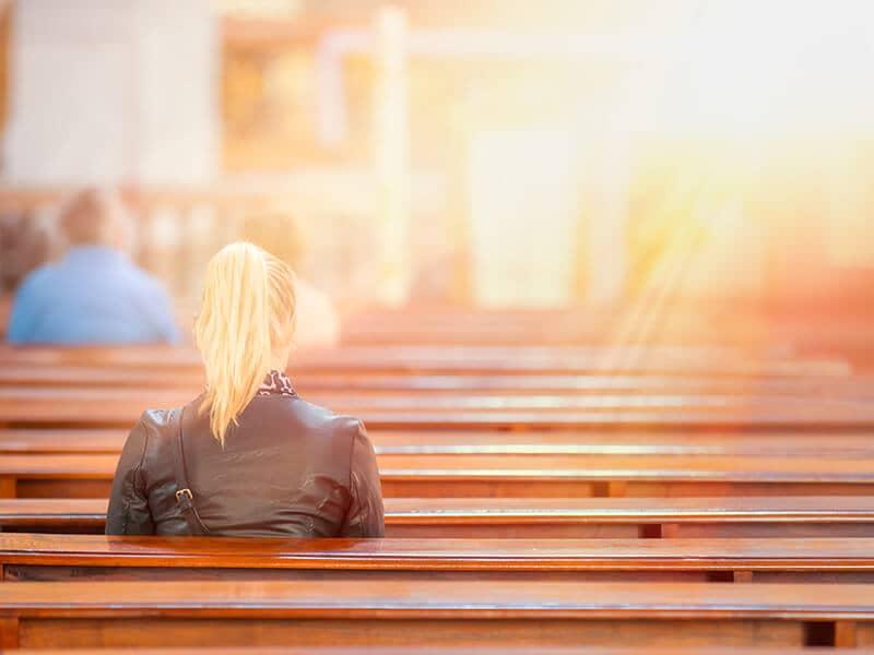 Woman in church