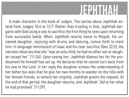 Jephthah and his daugther, shocking Bible scenes and stories, step stone Bible