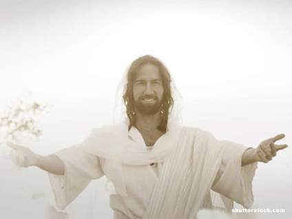 jesus arms open white background