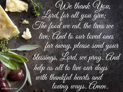 Meal Prayer Olives Cheese we thank you