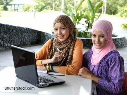 Muslim Girls With Computer