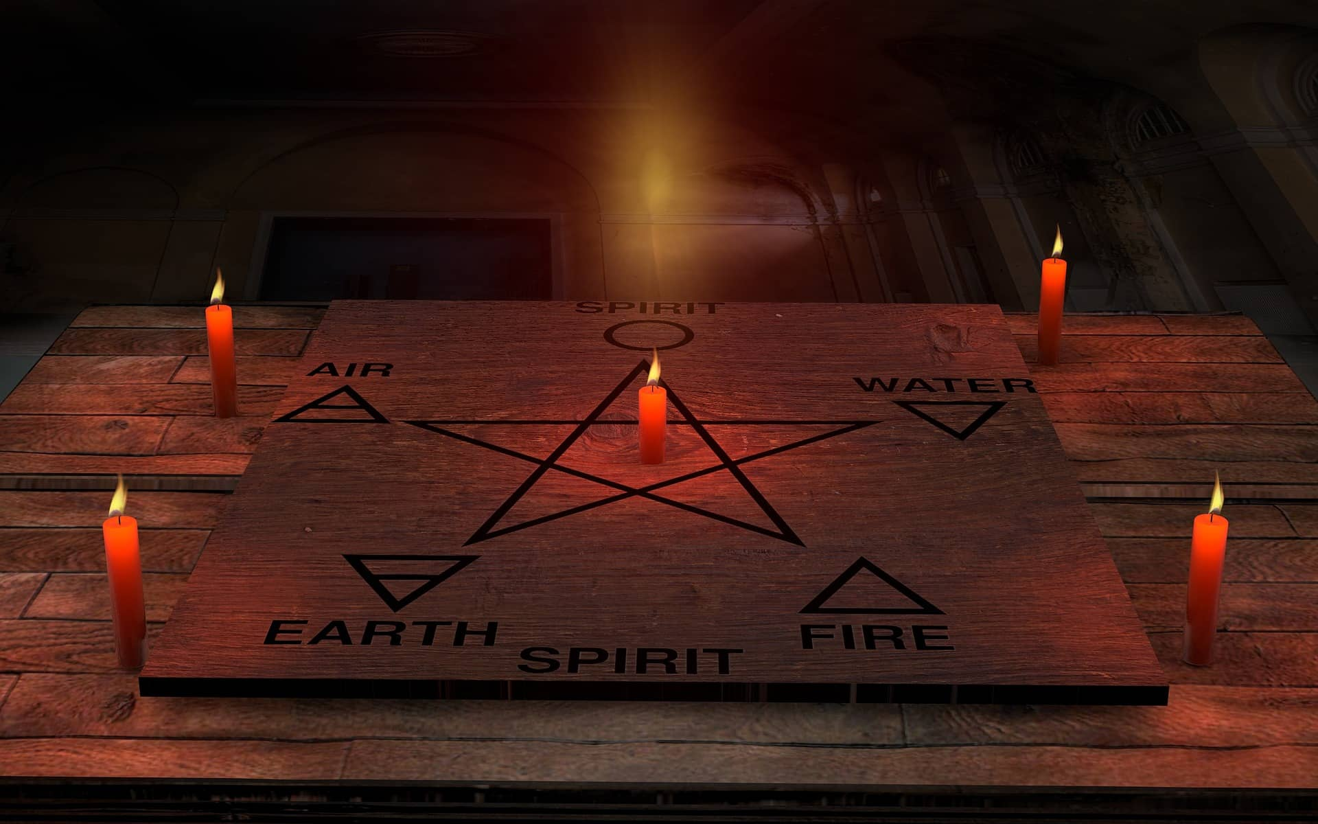 pentagram with candles