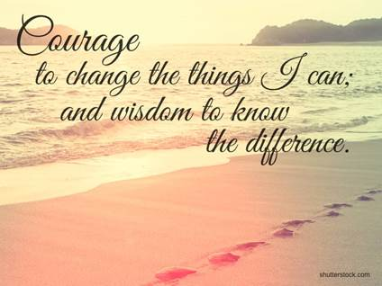 serenity prayer courage beach footprints