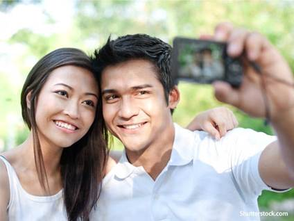 people couple selfie