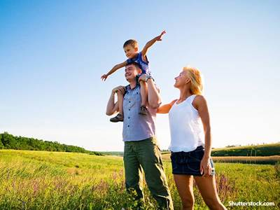 happy family on the field
