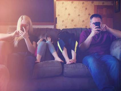 family on phones