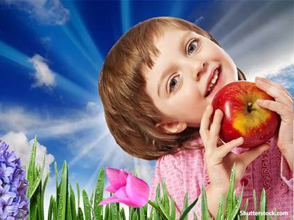 food girl with apple