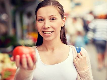 woman healthy shopping