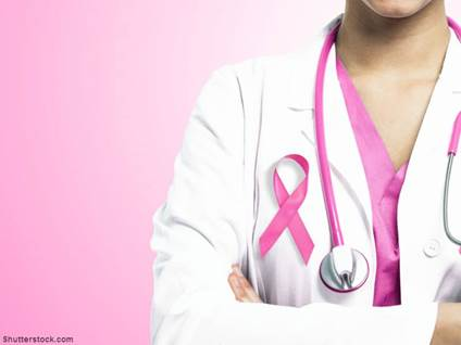 Doctor wearing breast cancer ribbon