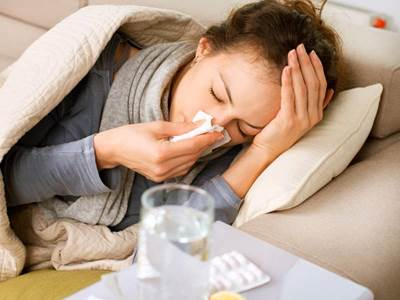 person sick with flu