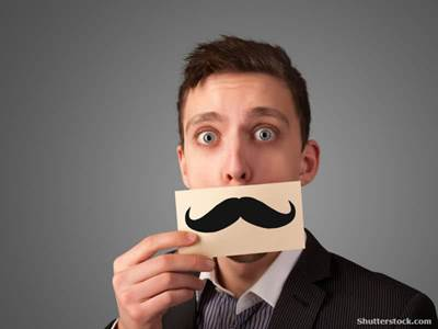 Man with fake moustache