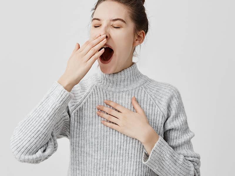 woman, yawning